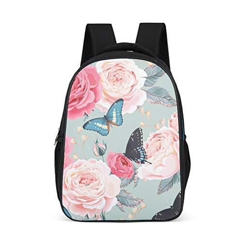 Plant bloem vlinder roze blauw rugzak schooltas leuke studenten universiteit reis multifunctionele buitenkant Eén maat grijs