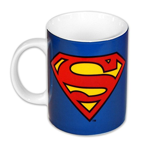 Superman Tasse mit Logo / Kaffeetasse aus Porzellan