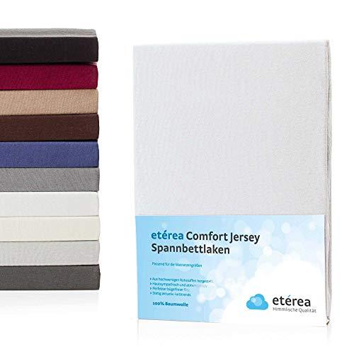 etérea Jersey Spannbettlaken 90x 200 bis 100x200cm - Superweiches Spannbetttuch aus 100% Baumwolle, Bettlaken mit ca. 25 cm Matratzenhöhe, Weiß