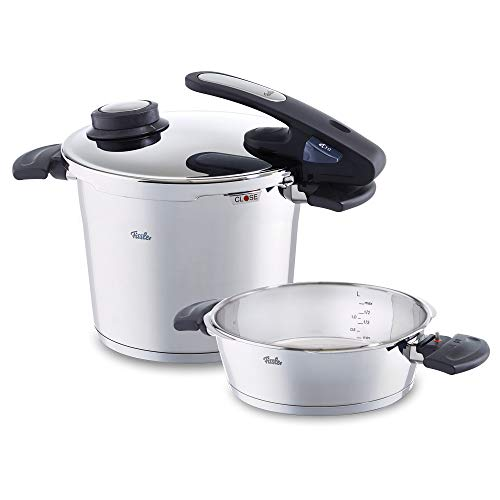 Fissler vitavit edition design Pressure Cooker and Quick Frying Pan 630-305-12-070/0, Large 6 L Pressure Cooker and a 2.5 L Stainless Steel Pressure Skillet, For All Heat Sources