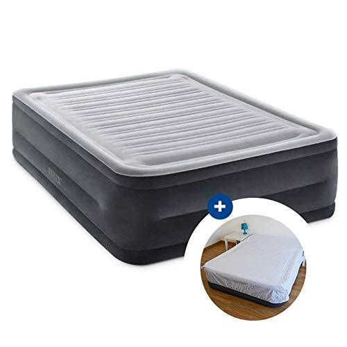 RAVIDAY Pack Lit Gonflable Intex Comfort Plush High Fiber-Tech 203 x 152 x 56 cm + Drap Housse