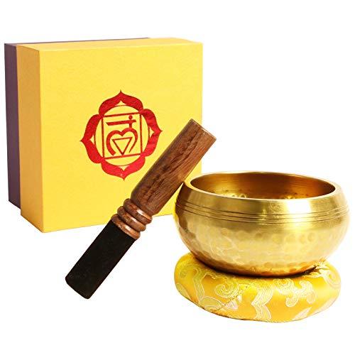Klangschale, Premium Tibetische Klangschalen Set mit hochwertigem Holz Klöppel und Himalaya Kissen, Perfekt für Meditation Entspannung, Stress und Angst Relief, Schulen Therapien, 8 CM