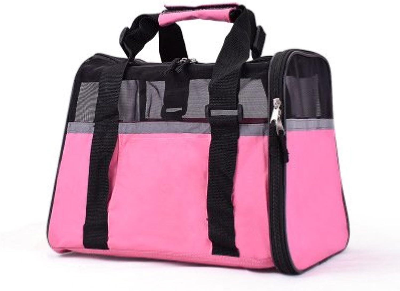 Dog Backpacks Pet Bag MultiFunction Folding Cat Bag Dog Bag Breathable Portable Travel Pink Large Capacity 36.5  35  28 cm