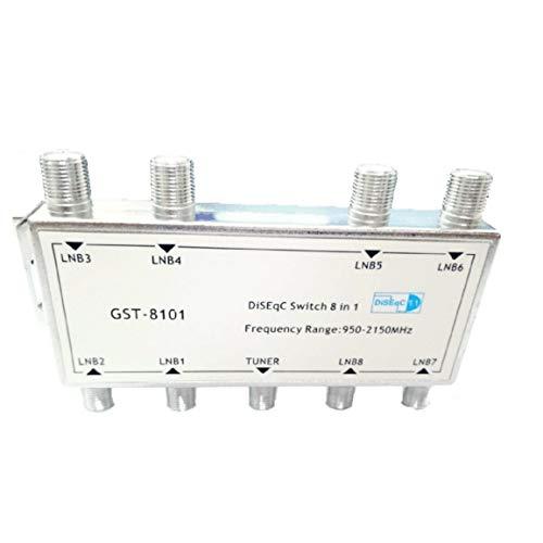Garciadia DS81 8 in 1 Satelliten-Signal DiSEqC-Switch-LNB-Empfänger Multischalter Heavy Duty Zink-Druckguss Chrom Behandelte (Farbe: Silber)