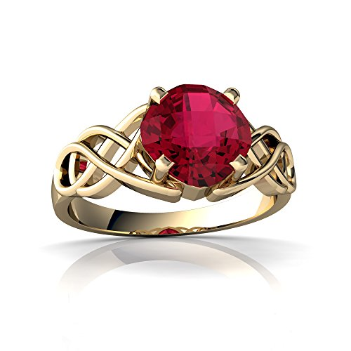 14kt Yellow Gold Lab Ruby 6mm Cushion Celtic Knot Ring - Size 9