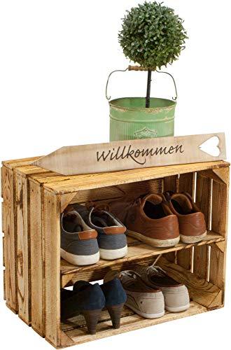 Kistenbaron 1x Schuhschrank Schuhregal - Weinkiste Obstkiste Holzkiste - geflammt - 50x40x30cm