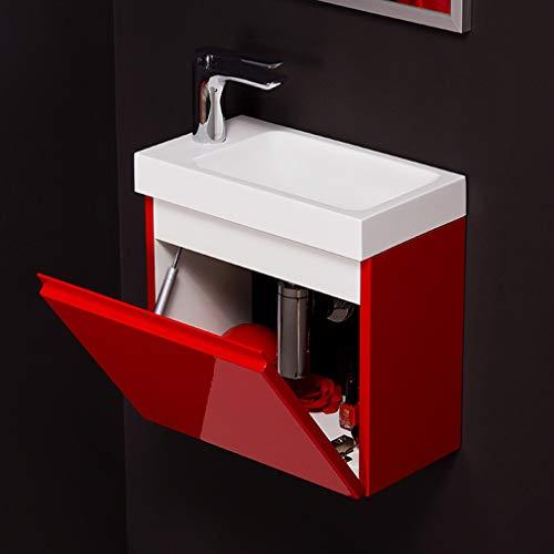 Quentis Badmöbel Gäste-WC Set Faros, Breite 40 cm, Waschbecken mit Unterschrank, rot glänzend