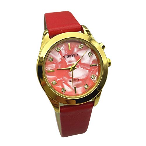 Reloj parlante para mujer, analógico, con alarma, anuncio de hora y fecha en francés, color dorado, correa de piel TAG-1302F