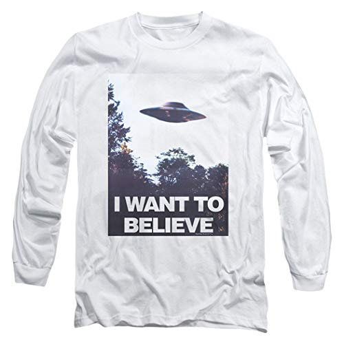 X-Files I Want to Believe Aliens UFO Longsleeve T Shirt & Stickers (Large) White