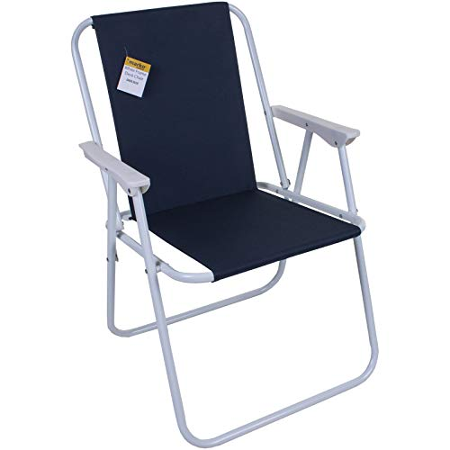 Marko Outdoor Folding Camping Deck Chair Garden Lawn Patio Spring Foldable Seat Outdoor BBQ (Navy)