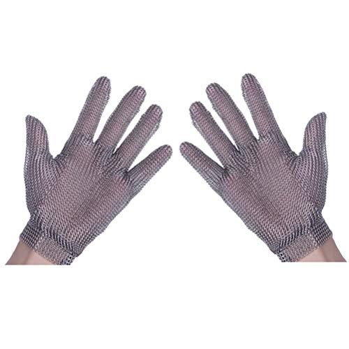 Schnittfeste Handschuhe-XHZ Anti-Schneid-Handschuhe aus Edelstahl mit fünf Fingern, Küche, Metzger, Arbeitsschutzhandschuhe zum Schweißen. (Silbergrau, Größe: XS - L)
