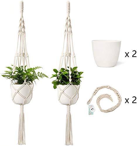 Mkouo Makramee Pflanzenhänger mit Töpfen 16.5cm Pflanzgefäß aus Kunststoff Inbegriffen Innen Hängende Pflanzgefäße Korbhalter (2 Pflanzenhalter and 2 Blumentöpfe) 104cm