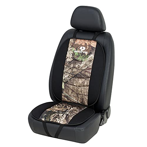 Mossy Oak Car Seat Cover Breathable Seat Protector Camo & Black Striped Stitching Design - Made with Premium Polyester Fiber & Back Rubber Granule Fabric - Official Licensed Product (Black 1Pc)