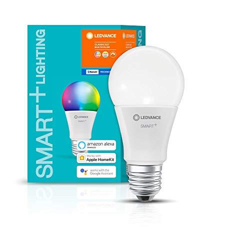 LEDVANCE Lámpara Smart LED, Bluetooth, E27, color de luz variable (2700-6500K), colores RGB cambiables, sustituye lámparas incandescentes 60W,controlable con Google,Alexa y Apple,SMART+ BT MULTICOLOUR