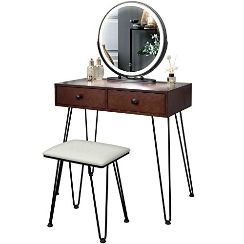 FREDEES Schminktische mit Runder Spiegel Vanity Table mit 3-farbigem Touchscreen-Dimmer mit gepolsterter Hocker und 2 großen Schubladen Braun