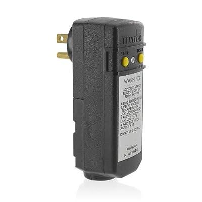 Leviton 120-Volt Compact Automatic Reset Right Angle GFCI, RoHS Compliant, Black