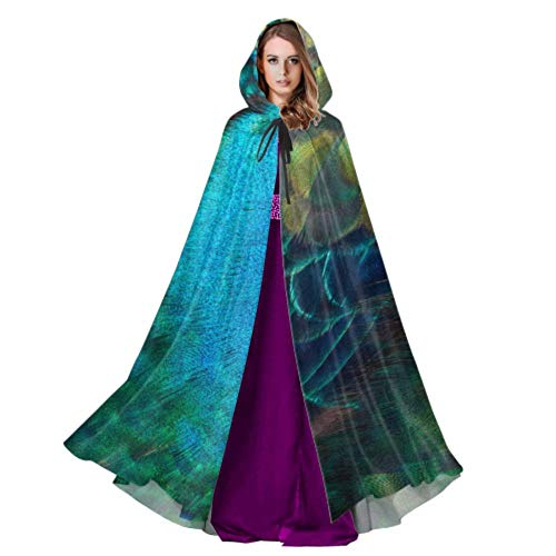 Niezhonghui Embroidery Peacock Feathers Lightweight Hooded Cloak Capes and Cloaks 59inch for Christmas Halloween Cosplay Costumes
