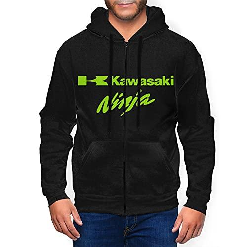 Ka-Wa-Sa-Ki Nin-Ja Logo Men's Zip Hoodie 3D Print Fashion Zipper Coat X-Large Black