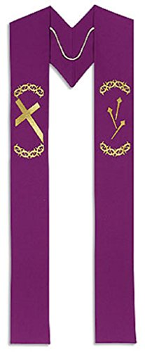 Church Supply Lenten Clergy Stole Embroidery on Polyester 110 Inches Long, Purple