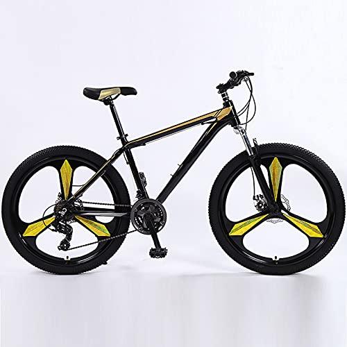 Bicicleta De Montaña, Acero De Alto Carbono De 26 Pulgadas Ruedas De 3 Radios Doble Disco Freno De Doble Disco MTB Bicicleta Adulto Estudiante Al Aire Libre Deporte Ciclismo,Oro,27 Speed