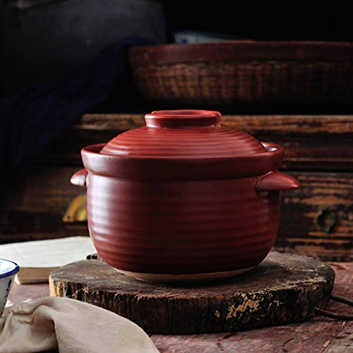 FCSFSF Runde Rot Pfanne,Reiskocher Für Reis Suppe Nudeln,Japanisch Donabe Keramik Hot Pot,Klein Vintage Steingut Tontopf,Hitzebeständig Pfanne Mit Deckel Rot 3l