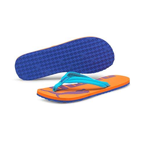 PUMA Unisex Epic Flip v2 Flipflop, Blue Atoll-Vibrant Orange, 24 EU