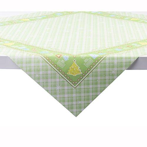 Sovie Home Tischdecke Joy Grün | Linclass® Airlaid | Weihnachten Tischtuch Einweg-Mitteldecke stoffähnlich | 80x80 cm