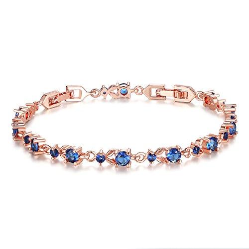 Wostu Donna Bracciale di lusso Snella oro rosa placcato con rosa scintillanti Cubic Zirconia Pietre Rose blu