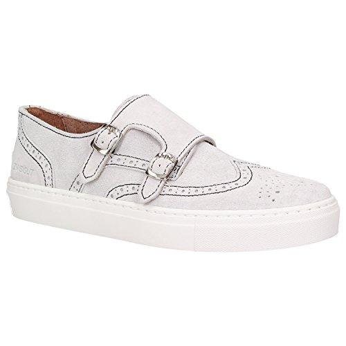 Zweigut® -Hamburg- smuck #254 Herren Leder Halbschuh Sneaker Monkstrap Slipper Wildleder Schuh, Schuhgröße:42, Farbe:grau