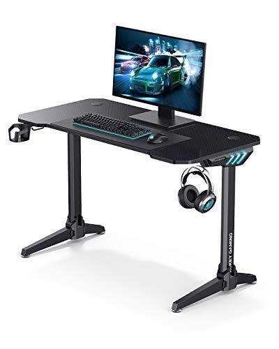AUKEY Escritorio de juegos para videojuegos, mesa para ordenador de oficina, iluminación RGB, portavasos para auriculares y gancho para altavoz, gestión de cableado – 114 x 60 x 73 cm