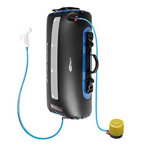 Enjoyyouselves - Alcachofa de ducha portátil de 20 L portátil con calefacción solar con bomba de pie y boquilla de ducha para nadar en la playa