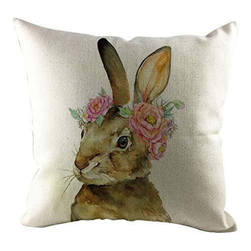 Dasongff Ostern Kissenbezug 45x45 Vintage Kissenhüllen Osterhase Kissen Kaninchen Tier-Motiv Wurfkissen