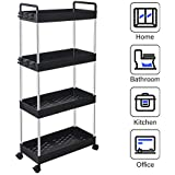 SOLEJAZZ Rolling Storage Cart 4-Tier Mobile Shelving Unit Bathroom Carts with Handle for Kitchen Bathroom Laundry Room, Black