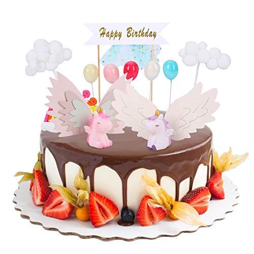 FORMIZON Eenhoorn Taart Decoratie, Verjaardagstaart Topper Inclusief Eenhoorn, Regenboog, Ballon, Gelukkige Verjaardag, Taart Topper voor Kinderen Meisje Jongen