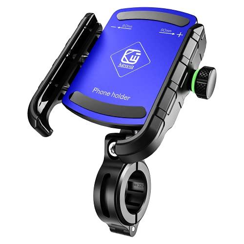 BTNEEU Soporte Movil Bicicleta, Anti Vibración 360° Rotación Soporte Móvil Moto Ajustable Soporte Teléfono Bicicleta Compatible para iPhone Samsung Huawei y Otro 3,5'' a 7,0'' Smartphones (Azu