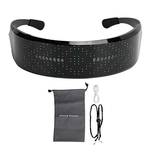 Fdit Gafas LED, Gafas Bluetooth Brillantes de Colores RGB, animaciones de 21 Modos y Gafas Personalizadas para Fiestas Frescas, Gafas Recargables para Discotecas