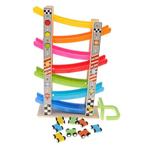 XYSQWZ Colorida Pista de Carreras de rampa de Madera y 8 Mini Juegos de Autos de inercia - Juguetes para bebés pequeños Juegos preescolares de Desarrollo