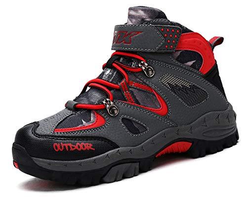 Kinder Wanderschuhe Jungen Wanderstiefel Mädchen Outdoor Trekking Schuhe rutschfeste Mid Trekkingstiefel Rot gr EU 31-Etikett 32