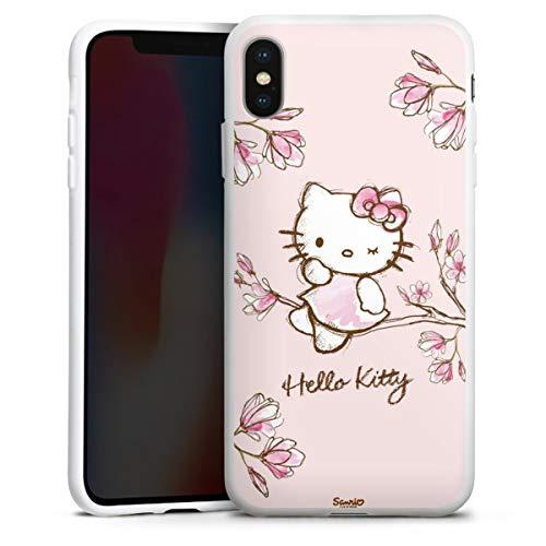 DeinDesign Silikon Hülle kompatibel mit Apple iPhone XS Max Hülle weiß Handyhülle Hello Kitty Fanartikel Hanami