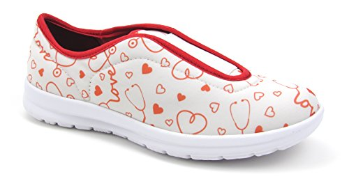 Move Women's Cute Memory Foam Elastic Gore Nursing Shoes - Printed - Florence (5, Stetho Love White)
