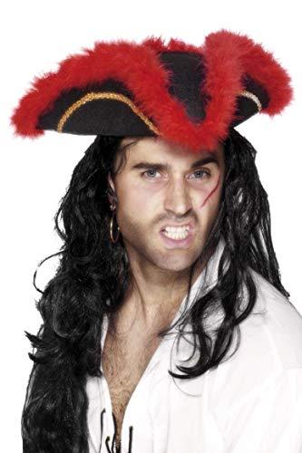 Smiffys Sombrero Pirata de Tres Picos, Pluma roja, Negro, con galón Dorado y marabú