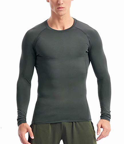 Compression Shirts for Men Long Sleeve (L, Steel Grey)