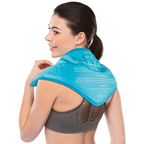 """Reusable Neck Gel Ice Pack, Comfytemp Cold Pack Compress for Neck and Shoulder, Flexible Hot and Cold Therapy Wrap for Swelling, Injuries, Pain Relief, Bruises, Sprains, Inflammation - 23""""x8""""x5"""""""