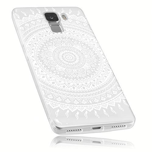 Preisvergleich Produktbild mumbi Hülle kompatibel mit Honor 7 / 7 Premium Handy Case Handyhülle mit Motiv Mandala Weiss,  transparent