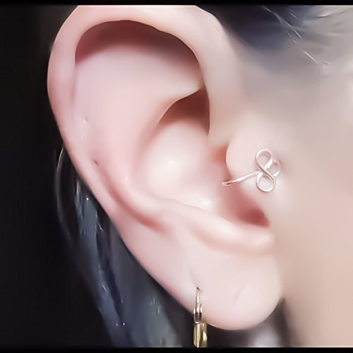double flower tragus ear cuff 925 sterling silver 14k yellow/rose gold filled fake cartilage earring