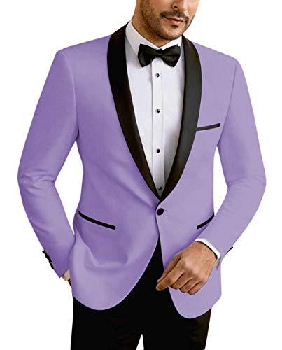 Vincent Bridal Men's Suit Jacket Slim Fit One Button Shawl Lapel Tuxedo Formal Wedding Groomsmen Blazer(Jacket)(38R, Lavender)