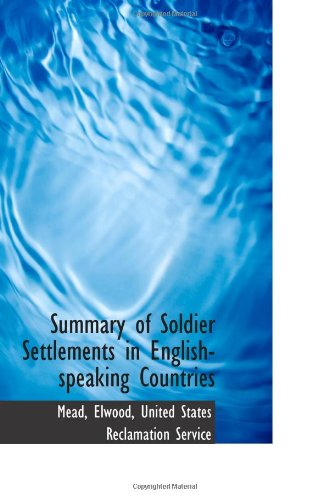 Summary of Soldier Settlements in English-speaking Countries