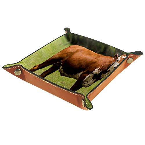Leder Valet Tray, Würfel Tray Folding Square Holder, Kommode Organizer Platte für Wechsel Münze Key Grassland Animal Cow