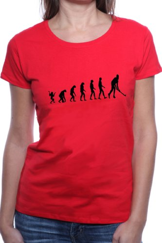 Mister Merchandise Cooles Damen T-Shirt Hockey Evolution Feldhockey Fieldhockey, Größe: S, Farbe: Rot
