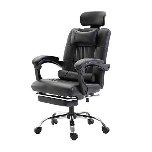 HMBB Sillas de escritorio, silla de oficina ajustable, ergonómica, respaldo alto, de piel sintética, rotación de 360°, silla de ordenador con reposabrazos y reposapiés, color negro